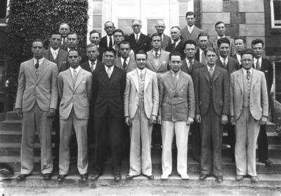 Group photograph, probably Omicron Delta Kappa, includes McVey, Professor William Edwin Freeman, Professor of Engineering, and Dean W. D. Funkhouser (on McVey's left)