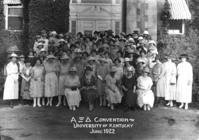 Unidentified women in front of Administration building, Alpha Xi Delta convention, includes Margaret I. King and Frances Jewell McVey