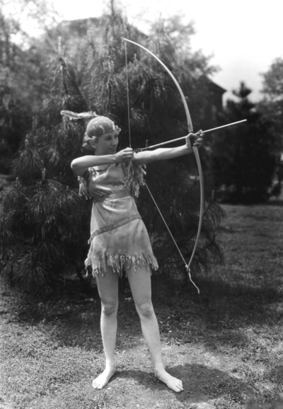 League of Nations Pageant, woman archer in costume