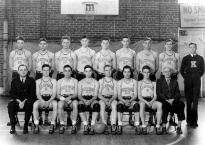 Men's basketball team, Coach Adolph Rupp seated on left, 1934-1935 SEC Champions