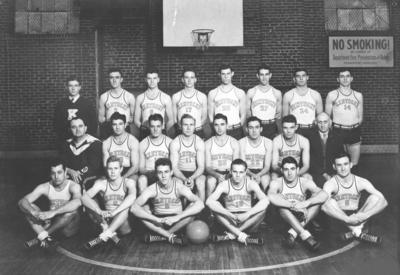 Men's varsity basketball team, Coach Adolph Rupp second row on left, circa 1930's