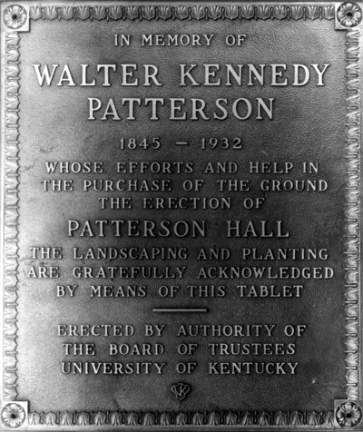 Bronze tablet in memory of Walter Kennedy Patterson 1845-1932
