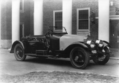 1921 Rolls Royce car owned by Charles H. Anderson, Professor of Engineering Design, 1919 - 1938 in front of Kinkead Hall