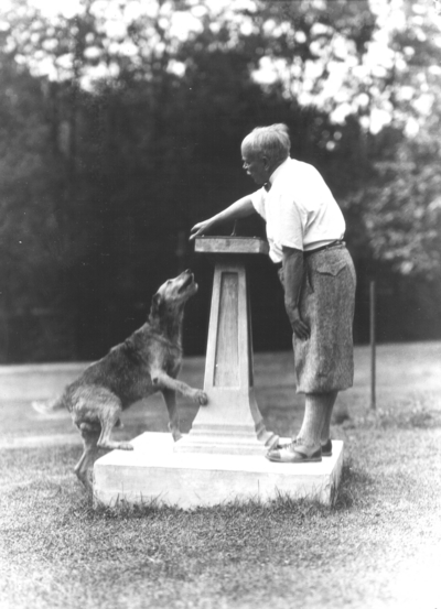 Dean F. Paul Anderson, Engineering, teaching tricks to his dog