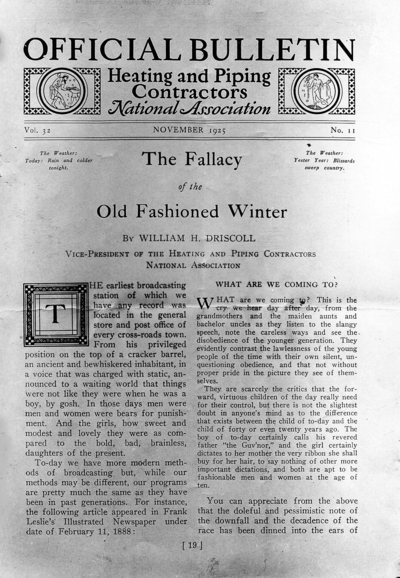 November 1925 bulletin for Heating and Piping Contractors National Association,