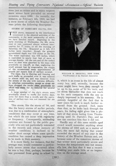 November 1925 bulletin for Heating and Piping Contractors National Association, with reprinted March 24, 1888 edition covering the blizzard of '88 (page 23), pamphlet for Driscoll