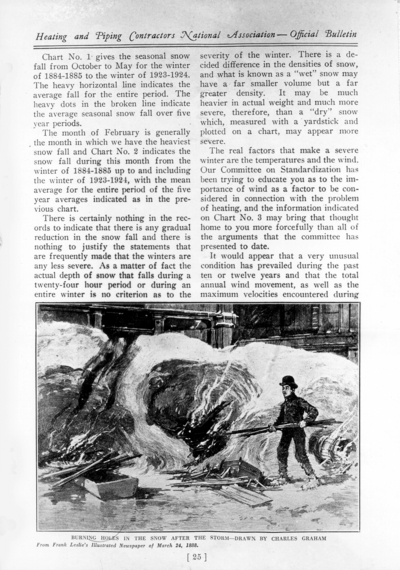 November 1925 bulletin for Heating and Piping Contractors National Association, with reprinted March 24, 1888 edition covering the blizzard of '88, (page 25), pamphlet for Driscoll