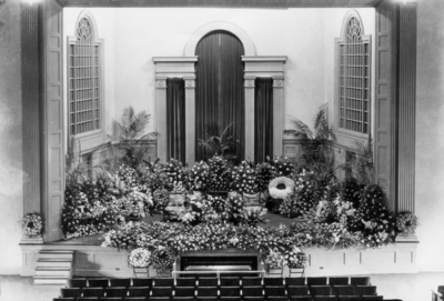Funeral in Memorial Hall, McHenry Rhoads, Professor of Education, 1911-1929, Emeritus, 1929-1943, funeral