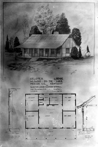 House plan, Celotex Lodge Wildwood-By-The-Lake, Mercer County, Kentucky; for Maury J. Crutcher; Superintendent of buildings and grounds, Linn H. McCain; Bookkeeper-Business Agent, Claude D. Dickerson; Plumbing and Heating Foreman and Daniel V. Terrell; Dean of the College of Engineering