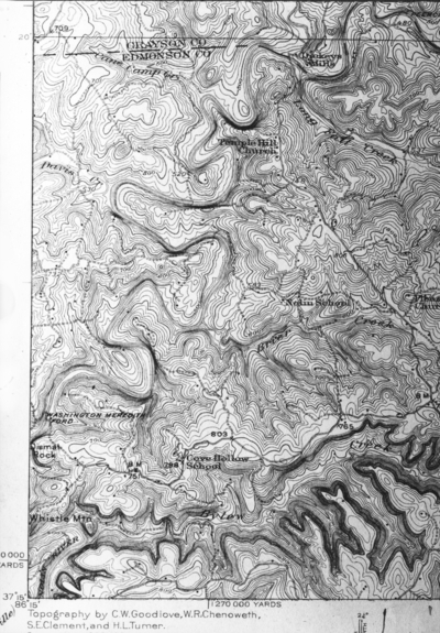 Topographical map near Mammoth Cave