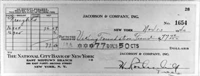 Copy of a check requested by Virginia Anderson Bozeman
