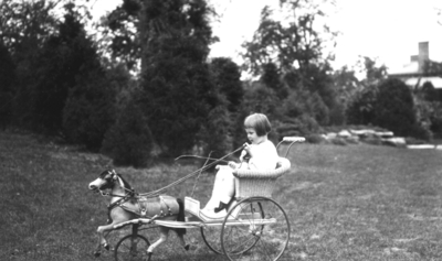 Unidentified child in cart