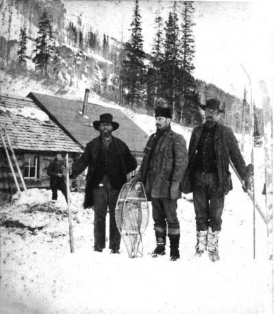 Unidentified outdoorsmen in snow