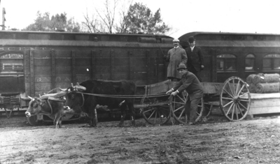 Photograph of a print or negative, at EPES, A. G. S., men with oxen and wagon in front of train