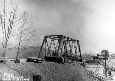 Railroad bridge construction, east side looking north, 9:30 AM