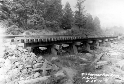 Railroad bridge, number 5 Crooked Fork Spur,  H.E.N.E. railroad