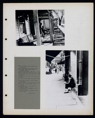 Group of African-American men sitting on porch, possibly along Kenton Street, Man sitting on stoop                             When, in disgrace with fortune and men's eyes... Shakespeare