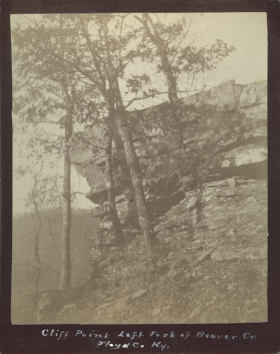 Side view of Cliff Point on the left fork of Beaver Creek in Floyd County, Kentucky