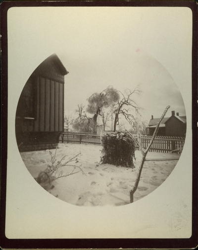 View of Dr. Edgars' house, barn and grounds in Lexington. Kentucky after the sleet of December 23, 1890