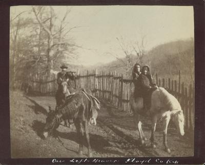 Unidentified man and women on horseback at the left fork of Beaver Creek, December 1890
