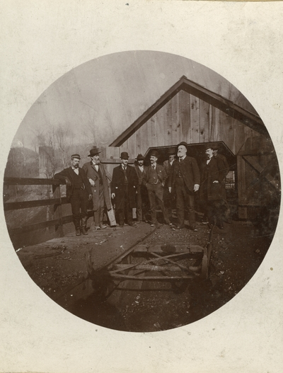Unidentified men of the Chicago and Grand Rapids party at the Pineville mine in Pineville, Kentucky