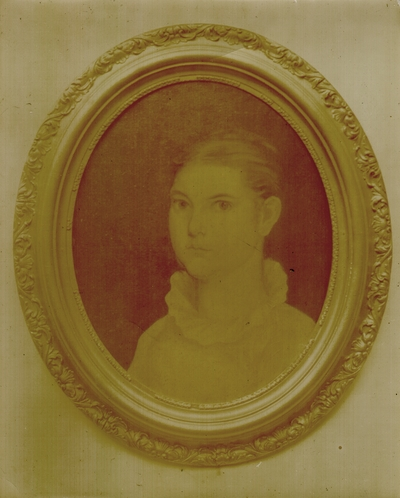 Oval framed portrait of young lady; variant of #178