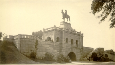 Large stone monument with horse and rider statue at top; Monument of Ulysses S. Grant; Variant of #53