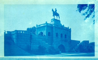 Large stone monument with horse and rider statue at top; Monument of Ulysses S. Grant; Variant of #52