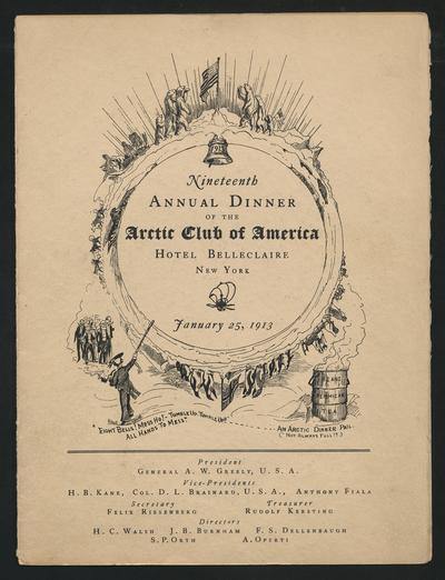 Menu for the nineteenth annual dinner of the Arctic Club of America, signed by Vilhjalmur Stefansson
