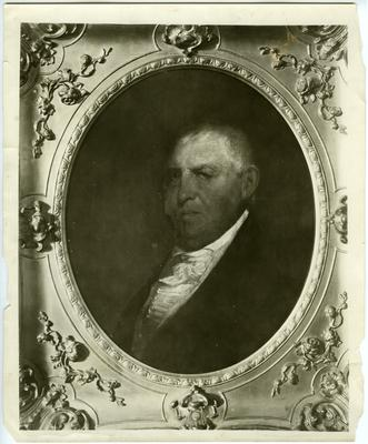 Colonel Isaac Shelby (1750-1826), first Governor of Kentucky; reproduction of portrait by Matthew Jouett;                              Portrait of Gov. Isaac Shelby, by Jouett, owned by John J. Shelby, of Lexington. noted on back image