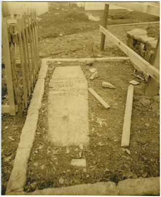 Grave of General Evan Shelby (1719-1794);                              Bristol, Tennessee. Second location of Gen. Evan Shelby casket removed from here to new location noted on back photo