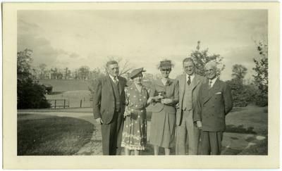 Five people at Traveler's Rest;                              [illegible], Mrs. S.M. Wilson, Garret McDonald, Clinton H[illegible], Mr. David Shelby noted on back photo