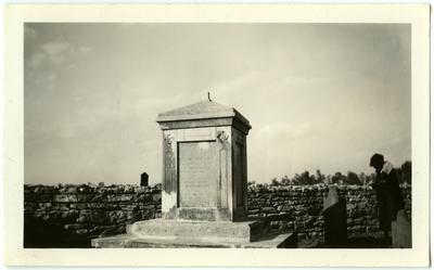 Governor Isaac Shelby's grave at Traveler's Rest;                              Taken Sunday, May 15th, 1938 noted on back photo