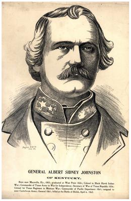 General Albert Sidney Johnston (1883-1862) C.S.A.; Commanded western theater; killed at the Battle of Shiloh