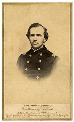 Brigadier General John Hunt Morgan C.S.A.; Morgan in uniform as a lieutenant in the Mexican-American War (1846-1848) (Civil War era reproduction of unknown earlier image, Morgan listed as                              Col. John Hunt Morgan / The Marion of the South)