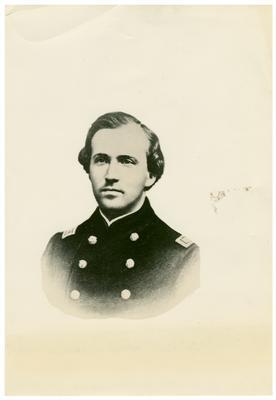 Brigadier General John Hunt Morgan C.S.A.; Morgan in uniform as a lieutenant in the Mexican-American War (1846-1848) (reproduction of albumen carte de visite, Morgan listed as                              Col. John Hunt Morgan / The Marion of the South)