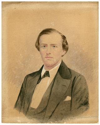 Brigadier General John Hunt Morgan C.S.A.; Morgan in civilian dress, artistic rendering, handwritten on back in ink                              John H. Morgan / about the age of 20 / Property of / Mrs. Gen. Duke, / Louisville, Ky