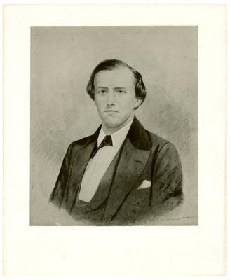 Brigadier General John Hunt Morgan C.S.A.; Morgan in civilian dress, (photographic reproduction of artistic rendering)
