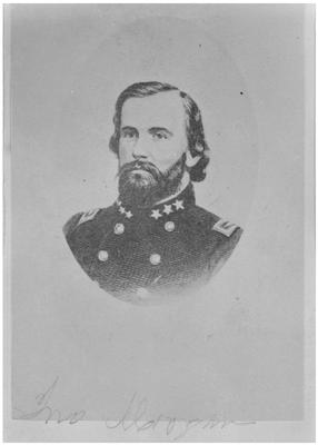 Brigadier General John Hunt Morgan C.S.A.; Morgan in uniform as a brigadier general, reproduction negative