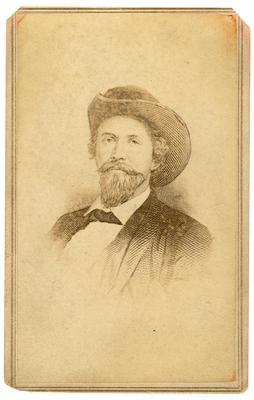 Brigadier General John Hunt Morgan C.S.A.; Morgan in civilian dress and a cavalry hat