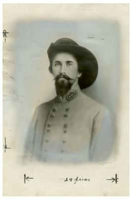 Brigadier General John Hunt Morgan C.S.A.; Morgan in civilian dress and a cavalry hat, reproduction