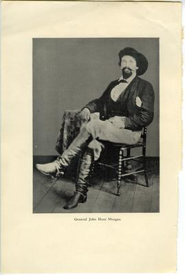Brigadier General John Hunt Morgan C.S.A.; Morgan in civilian dress and a cavalry hat, reproduction cut from book
