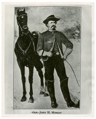 Brigadier General John Hunt Morgan C.S.A.; Morgan in uniform, with horse, reproduction of an illustration