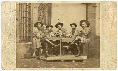 Group of                              Morgan's Men while prisoners of war in Western Penitentiary, Pennsylvania; (l to r) Captain William E. Curry, 8th Kentucky Cavalry; Lieutenant Andrew J. Church, 8th Kentucky Cavalry; Lieutenant Leeland Hathaway, 14th Kentucky Cavalry; Lieutenant Henry D. Brown, 10th Kentucky Cavalry; Lieutenant William Hays, 20th Kentucky Cavalry; all were captured with John Hunt Morgan in Ohio