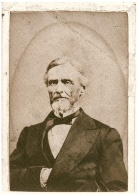 Jefferson Davis (1808-1889); President of Confederate States of America; handwritten on back in pen                              With best wishes / and kindest rem- / embrance / To Mrs. Morgan / Jefferson Davis reproduction of a portrait