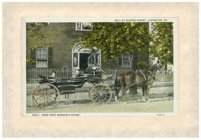Hunt-Morgan House, historically known as Hopemont, exterior; horse-drawn carriage in front of house; postcard glued to paper