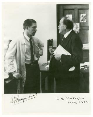 Thomas Hunt Morgan with Arie Haagen-Smit (1900-1977), atmospheric chemist at the California Institute of Technology
