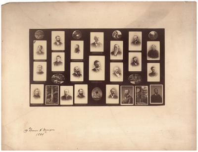 Collage; portraits of twenty men including Thomas Hunt Morgan, handwritten on bottom:                              Thomas H. Morgan / 1884