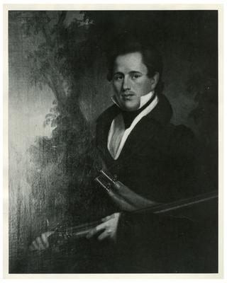 Alexander Morgan (?-1847), handwritten on back in pencil                              Alexander Morgan - / Brother of Calvin Morgan / + Uncle of John Hunt Morgan / (killed at the battle of / Buena Vista -) reproduction of a portrait