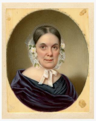 Elizabeth Abercrombie (1794-1848), handwritten on back in ink                              Painted by John W Dodge / of New York City / Lexington, Kentucky / Finished June 26th 1843. / Likely of / Mrs. Dan Vertner reproduction of a portrait